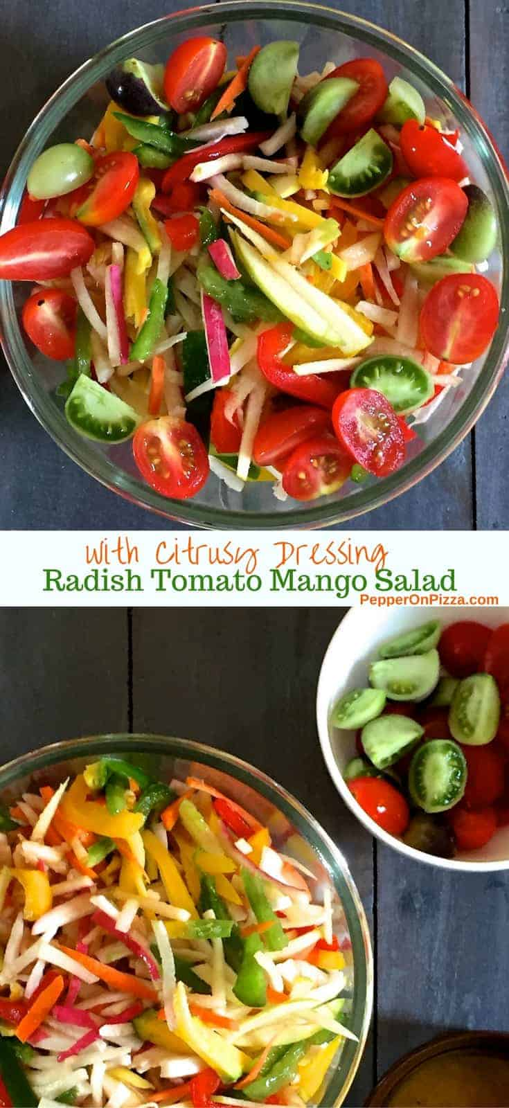 Salad of Radish Tomato Raw Mango in a citrusy ginger dressing