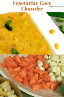 A white plate with mustard yellow vegetarian corn chowder garnished with fresh mint, flecked with ground black pepper. Sliced carrots, baby corn and some corn kernels seen below the image of the Soup. https://www.PepperOnPizza.com