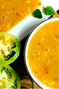 Delicious, easy to make, Green Tomato Corn Soup with Turmeric and Lemongrass. Healthy, soothing and refreshing and with a vegan option. Good for all seasons