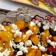 Delicious healthy easy Honey Grilled Peach Salad with Feta and a dressing of lemon juice, mustard, honey and ginger adding to the complementing flavours