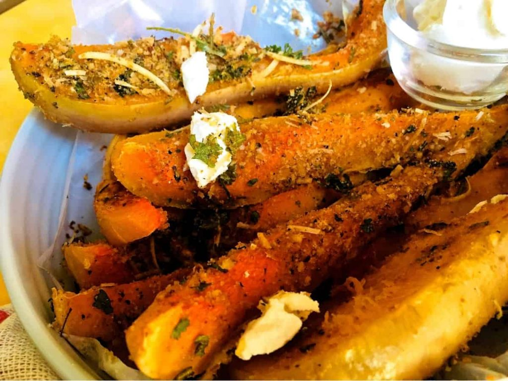 Easy dinner of squash baked with herbs and parmesan