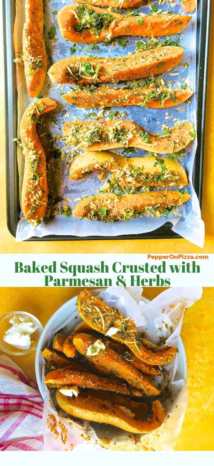 Parmesan and herbs crusted squash spread on a baking tray ready for baking