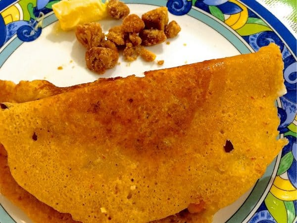 Multigrain Adai Dosa - Hearty, tasty nutritious crepes from a coarsely ground batter of rice and mixed lentils. Delicious with avial or jaggery and white butter
