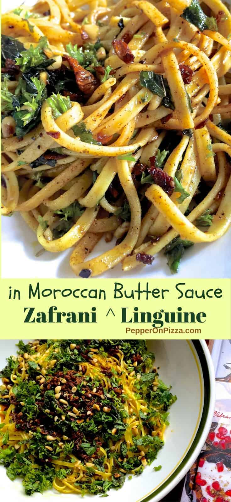 Delicious Saffron Linguine with Spiced Moroccan styled butter & fresh herbs takes less than 30 mins.Adapted from Yotam Ottolenghi's 'Plenty'