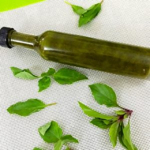 Homemade Basil Oil in a long narrow bottle, with basil leaves strewn around, on a white background edged with green