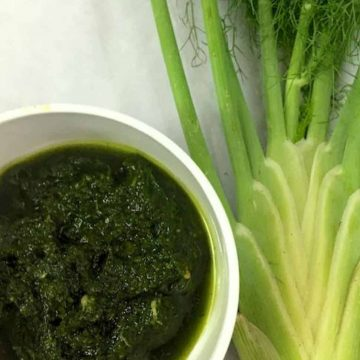 Fennel Frond Pesto with pine nuts and with Basil Oil
