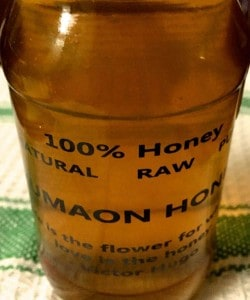 A tall bottle of rich dark Kumaon Honey