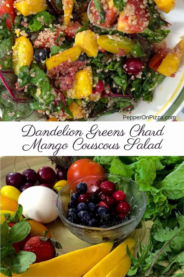 Dandelion Greens Couscous and Mango Summer Salad