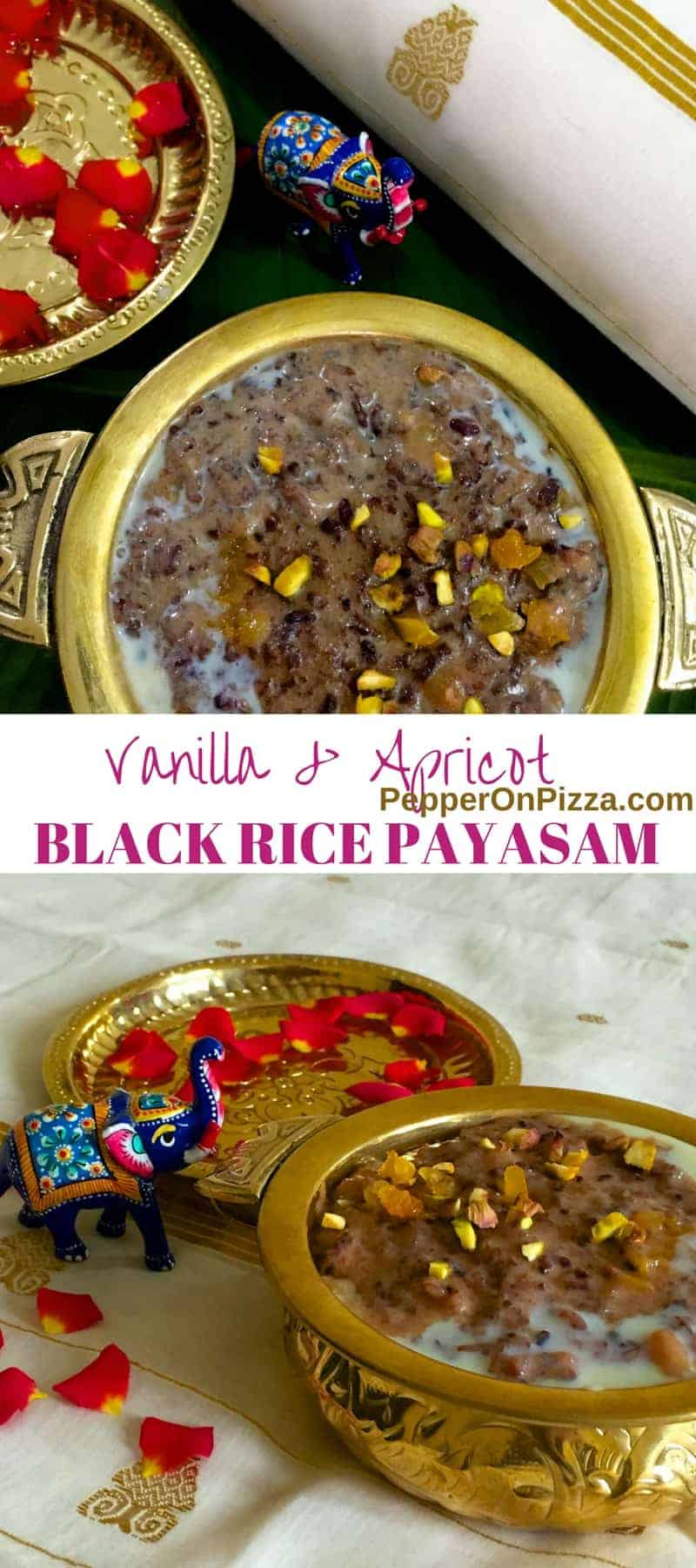 Exotic Black Rice Kheer Payasam with Vanilla, Apricot and Pistachio without ghee. The Black 'Forbidden Rice' is nutritious and fragrant with a nutty taste.