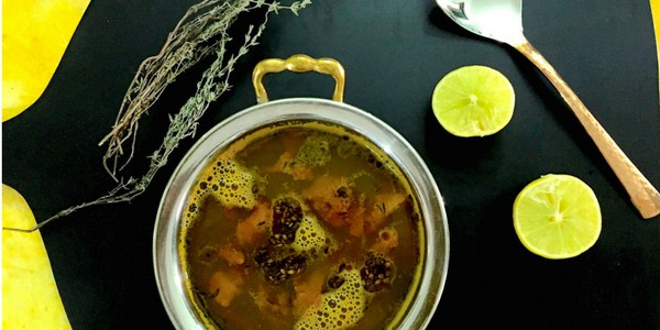 Lemon Thyme Rasam - fresh thyme adds a twist to the traditional South Indian spiced lentil and tamarind soup. Rich in nutrients, try this unusual Rasam