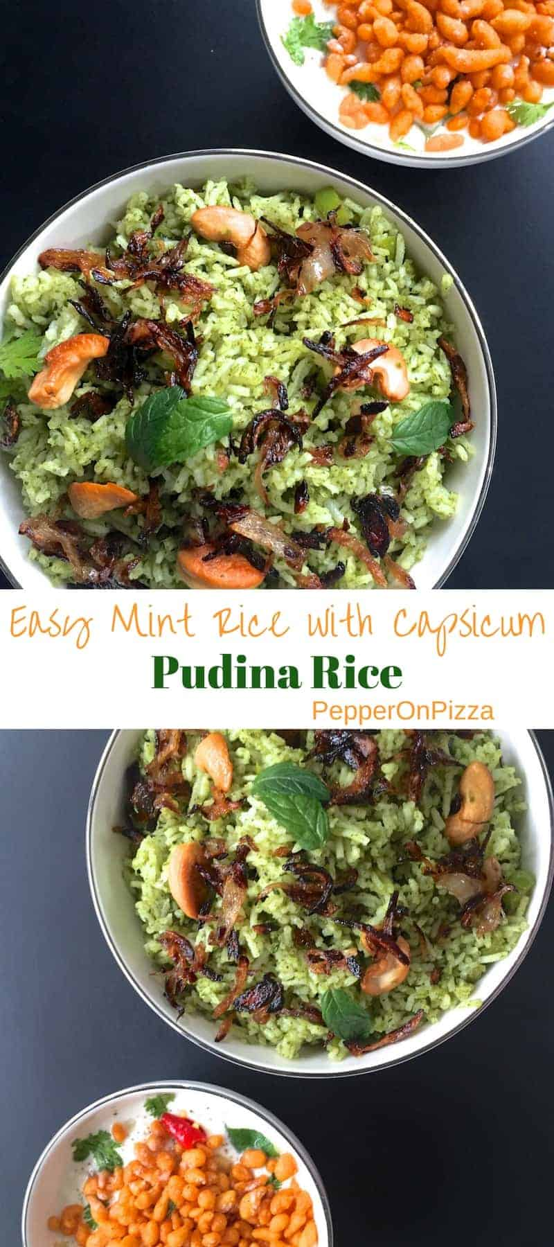 Mint Pudina Rice with capsicum_PepperOnPizza.com