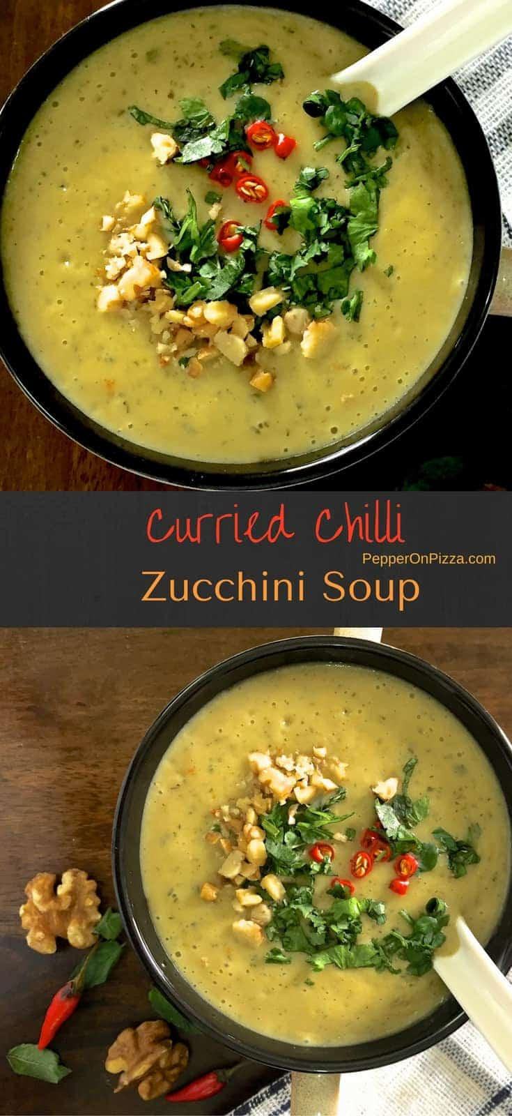 Curried zucchini soup with chillies, parsley, coriander, mint, turmeric and walnuts to add that extra nutrition. Easy and nutritious