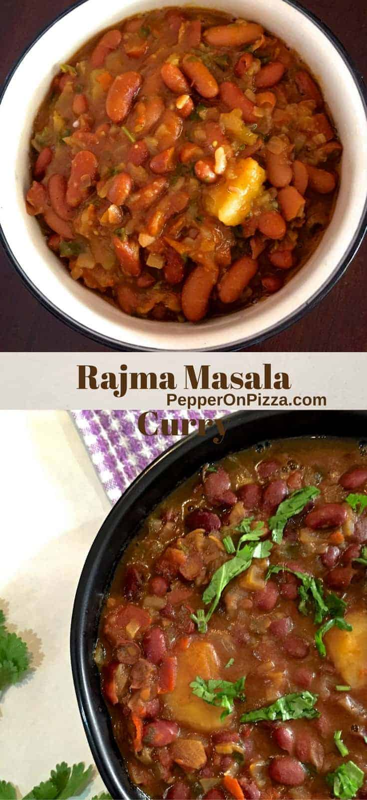 #RajmaMasalaCurry- red kidney beans cooked in thick onion tomato gravy in a black bowl on a lavender and white checked napkin with another white bowl of rajma at the top of the picture_Pepperonpizza.com