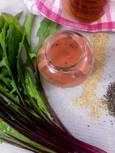 Strawberry Poppyseed Dressing with Dandelion Leaves Salad_PepperOnPizza.com