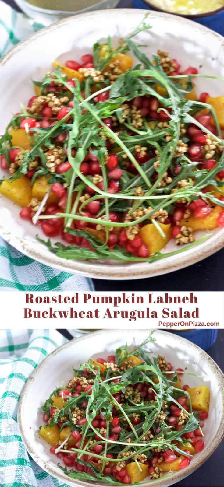 Roasted yellow pumpkin in a Roasted Pumpkin Pomegranate Salad with Argula leaves and pomegranates strewn on top. https://www.PepperOnPizza.com