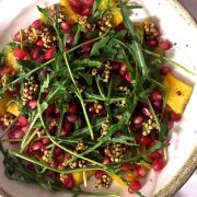Summery delicious nutritious Roasted Pumpkin Labneh Buckwheat Salad with Pomegranate and Rocket. With Contrasting textures & flavours