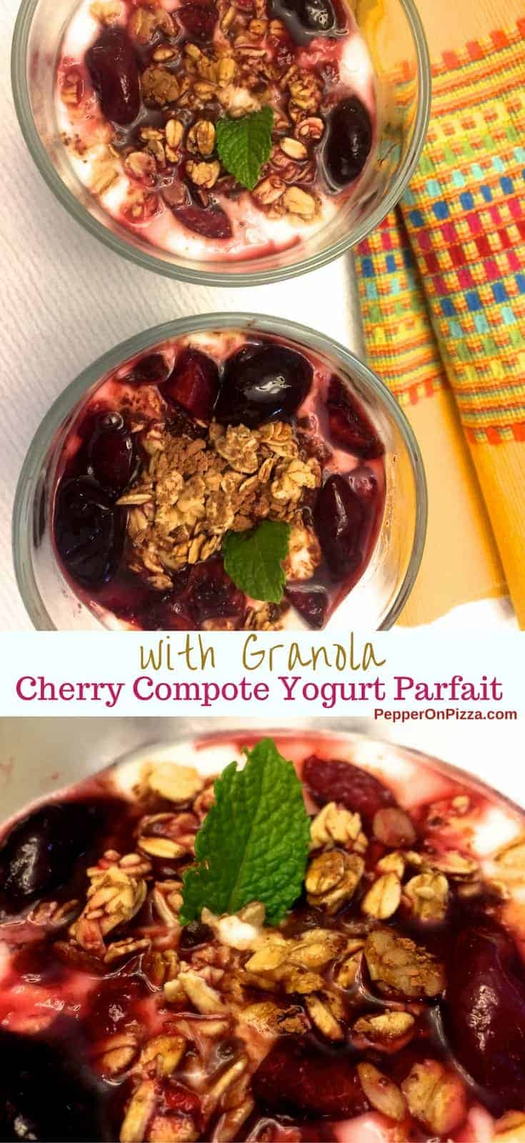 Easy to make, delicious Cherry Compote Yogurt Parfait with Granola.Yogurt layered with cherries, granola or nuts, cocoa powder and Cherry Compote topping.