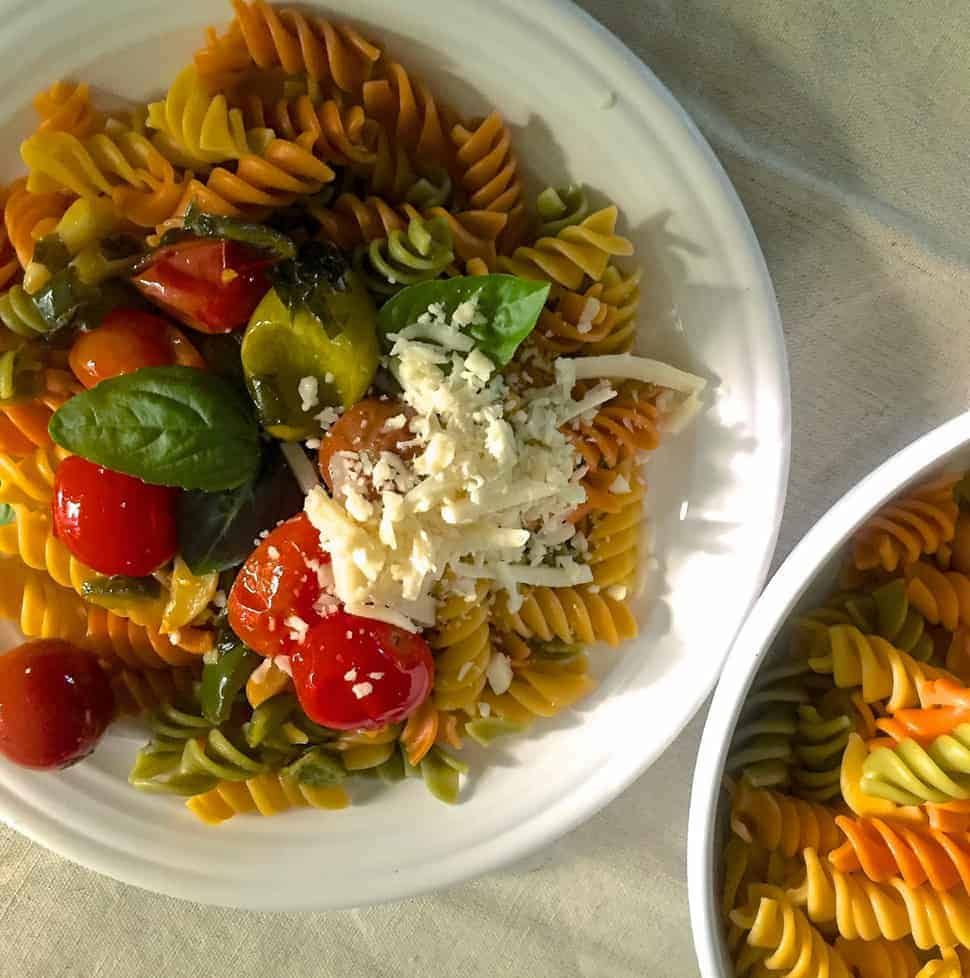 Easy quick Rotini Pasta in Garlicky Burst Cherry Tomato Sauce made from colourful, juicy cherry tomatoes, garlic, fresh basil and spirally wholewheat pasta