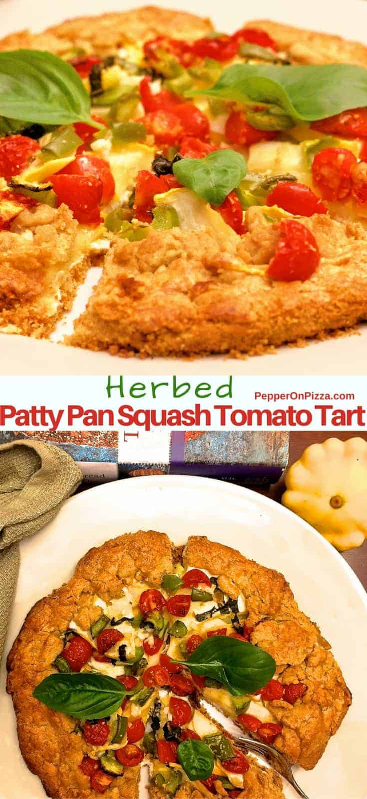 Simple savoury herbed Patty Pan Squash Tomato Tart with a healthy whole wheat and oats crust. Easy even if you are making tart crust for the first time.