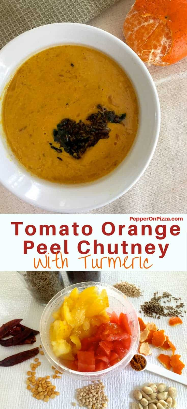Bright mustard coloured tomato peanut orange peel chutney Andhra Style in a white bowl, with a tempering of chili and cumin on top