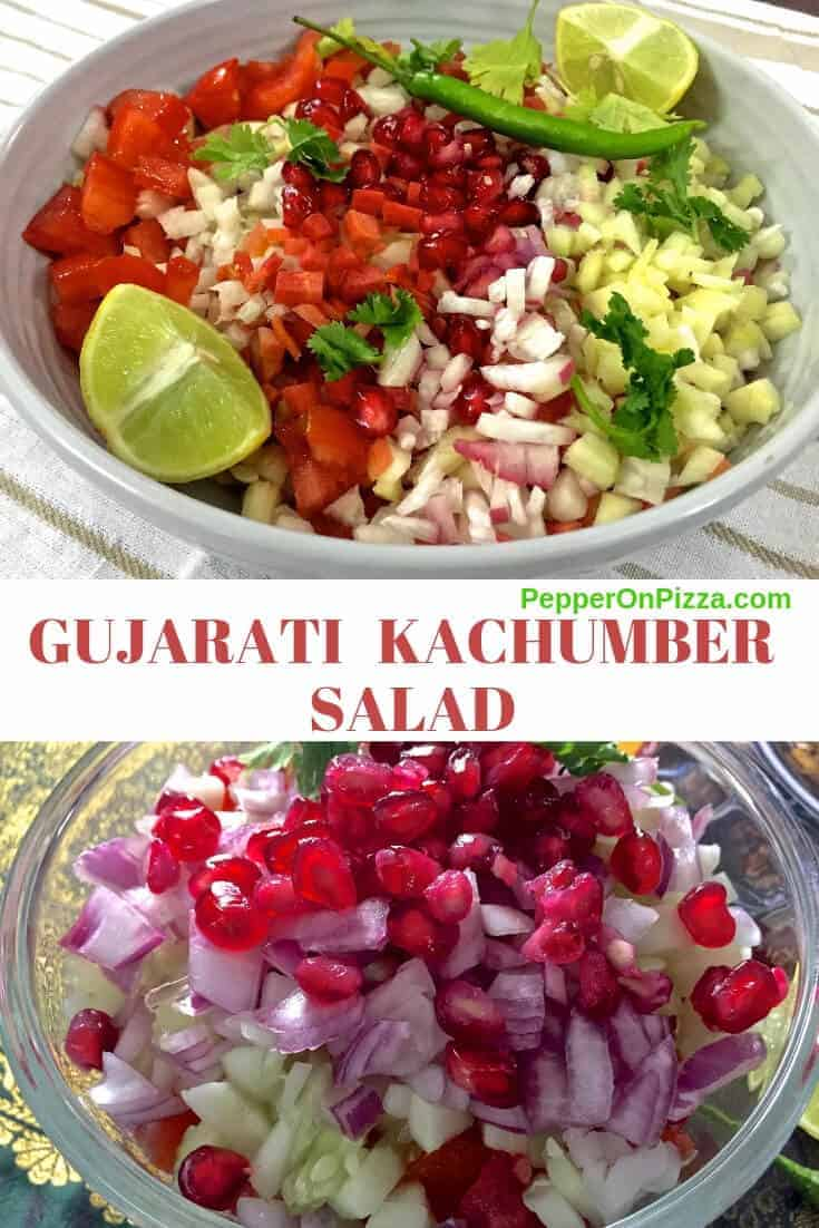 A bowl of mixed vegetables, radish, tomato, raw mango, onion Gujarati Kachumber Salad is garnished with pomegrantes making it colourful with red pink, yello and green. Refreshing summer salad with dressing of lemon and chili. https://www.PepperOnPizza.com