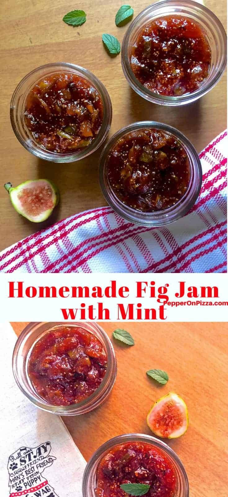 Homemade fig jam with mint in small jars with halved figs on one side and a white napkin with red lines on another and a mint leaf alongside https://www.PepperOnPizza.com