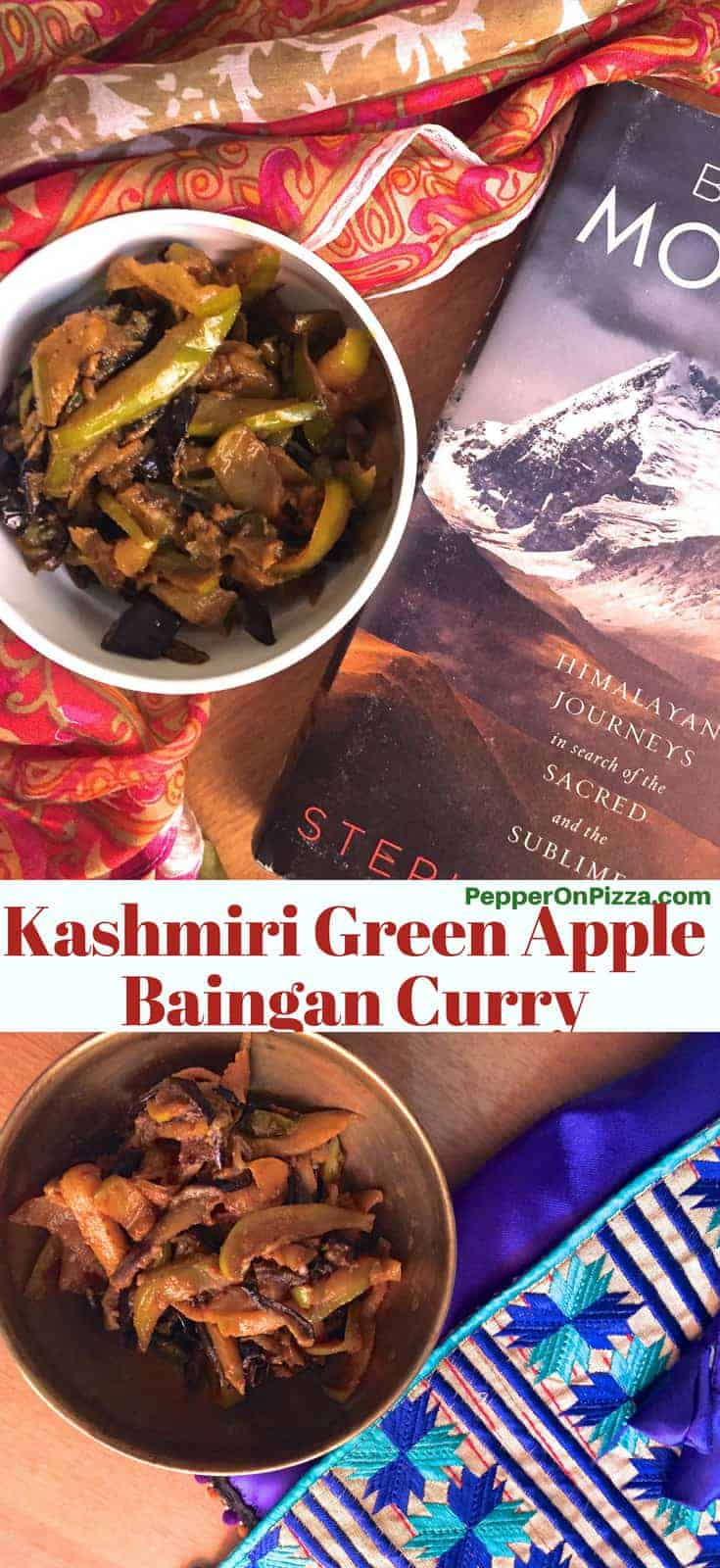 A white bowl with Kashmiri Green apple brinjal curry resting on a saffron and white silk stole and with a grey book on the Himalayas alongside