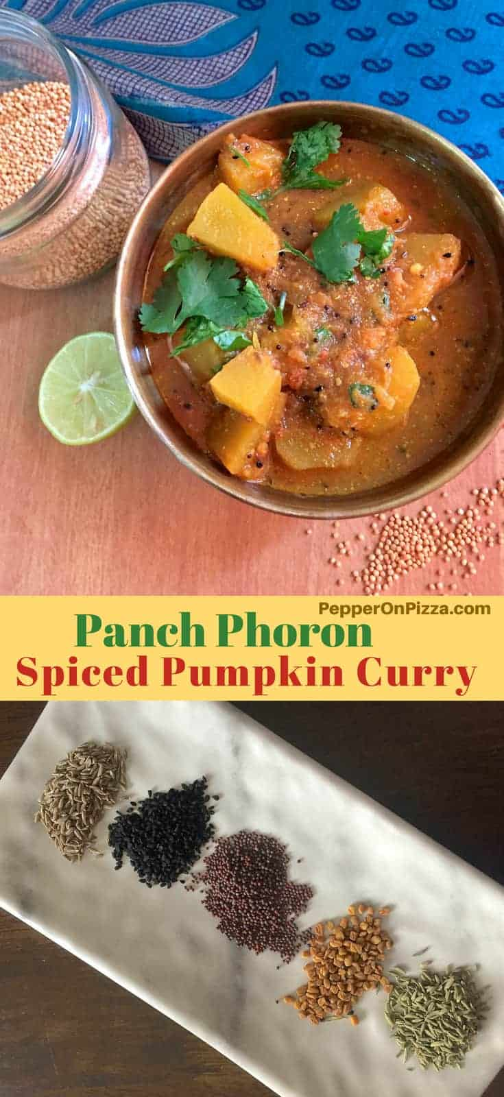 Chunks of pumpkin in a brass bowl -Spiced pumpkin curry. A plate of traditional Indian 5 spice blend and yellow mustard