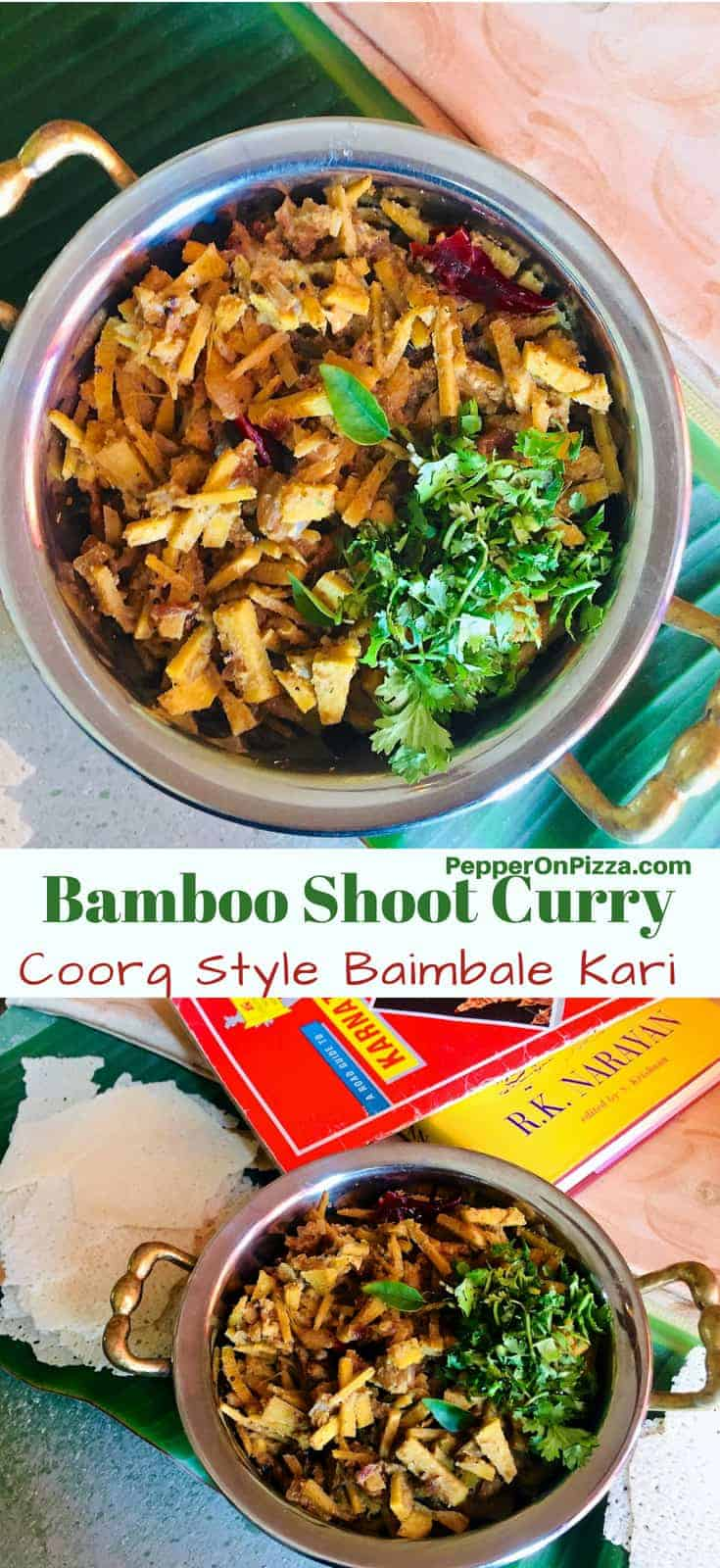 Bamboo Shoot Curry. A Coorg Style Kalale or Baimbale Kari made from fresh bamboo shoots that are fermented and then cooked with onion, garlic, tamarind and coconut paste The instructions include steps for preparing the fresh Bamboo shoots before cooking.