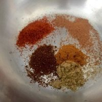 Spices to curry the roasted pumpkin soup - coriander, turmeric, chilli, cinnamon and clove powders