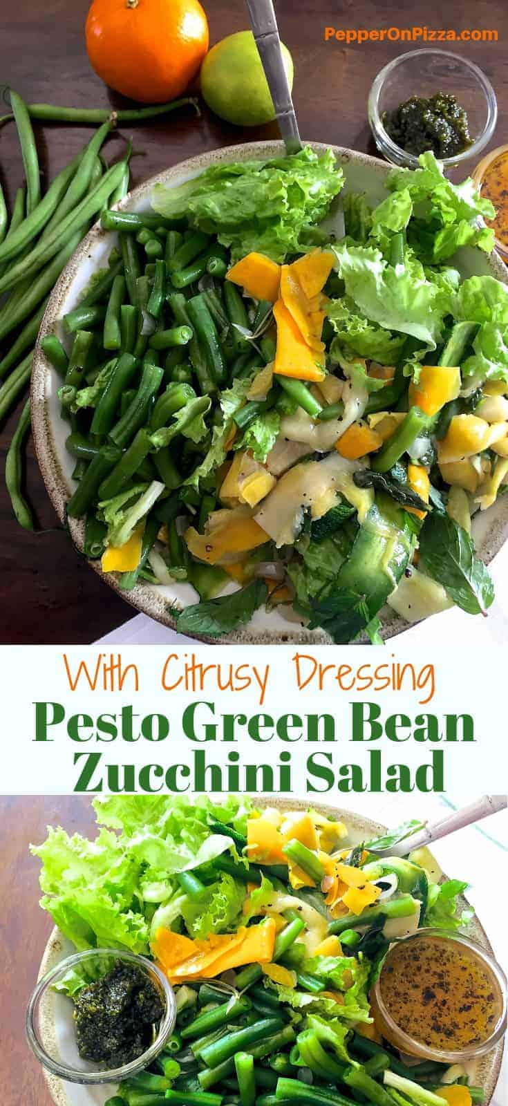 Two images one below the other of pesto Bean Ribboned Zucchini Salad, each in a bowl of green beans, yellow and green zucchini and with little cups of pesto and citrus dressing. One image is of the bowl resting on a white napkin with green stripes and the other on a green plantain leaf