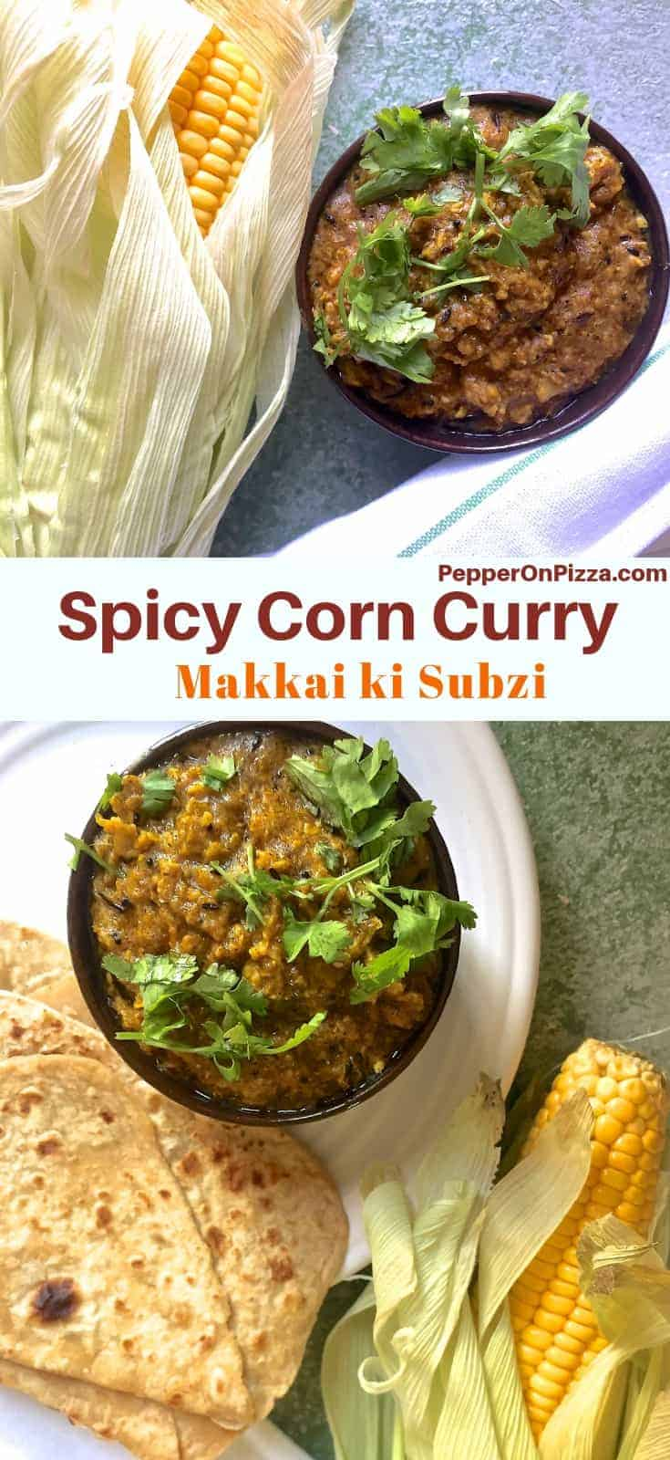 Makai ki Subi from Madhya Pradesh cuisine - in a bowl garnished with coriander and with a corn cob visible on one side and a white napkin with green stripes on the other