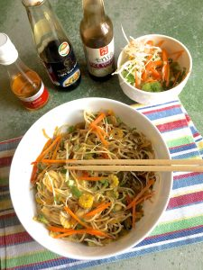 Stir fried vegetable noodles with ginger, soy sauce, miso paste and rice vinegar