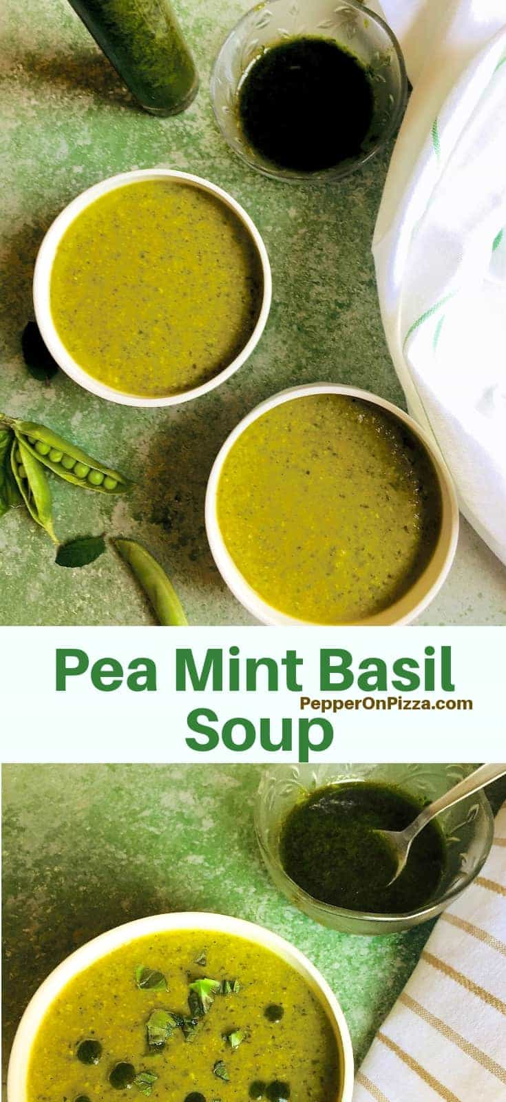 Two white bowls filled with a pea mint and basil soup, with split pea pods on one side and a white napkin on the other