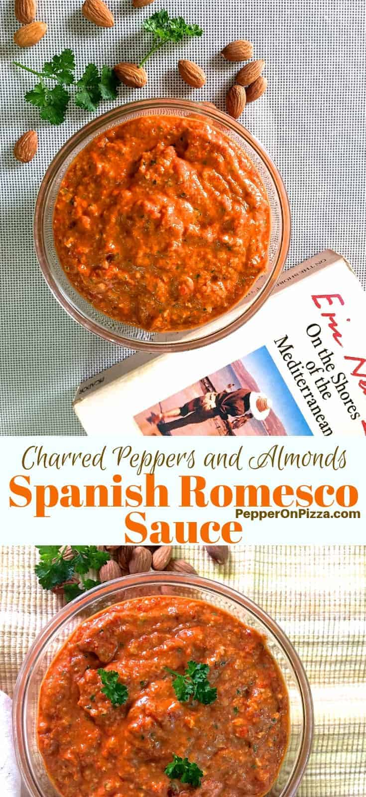 Spanish Romesco Sauce from charred red pepper, tomato and almonds. Easy to make and versatile to use. Serve with grilled veggies or chicken or with fish, or as a delicious pesto, with pasta or as a spread.