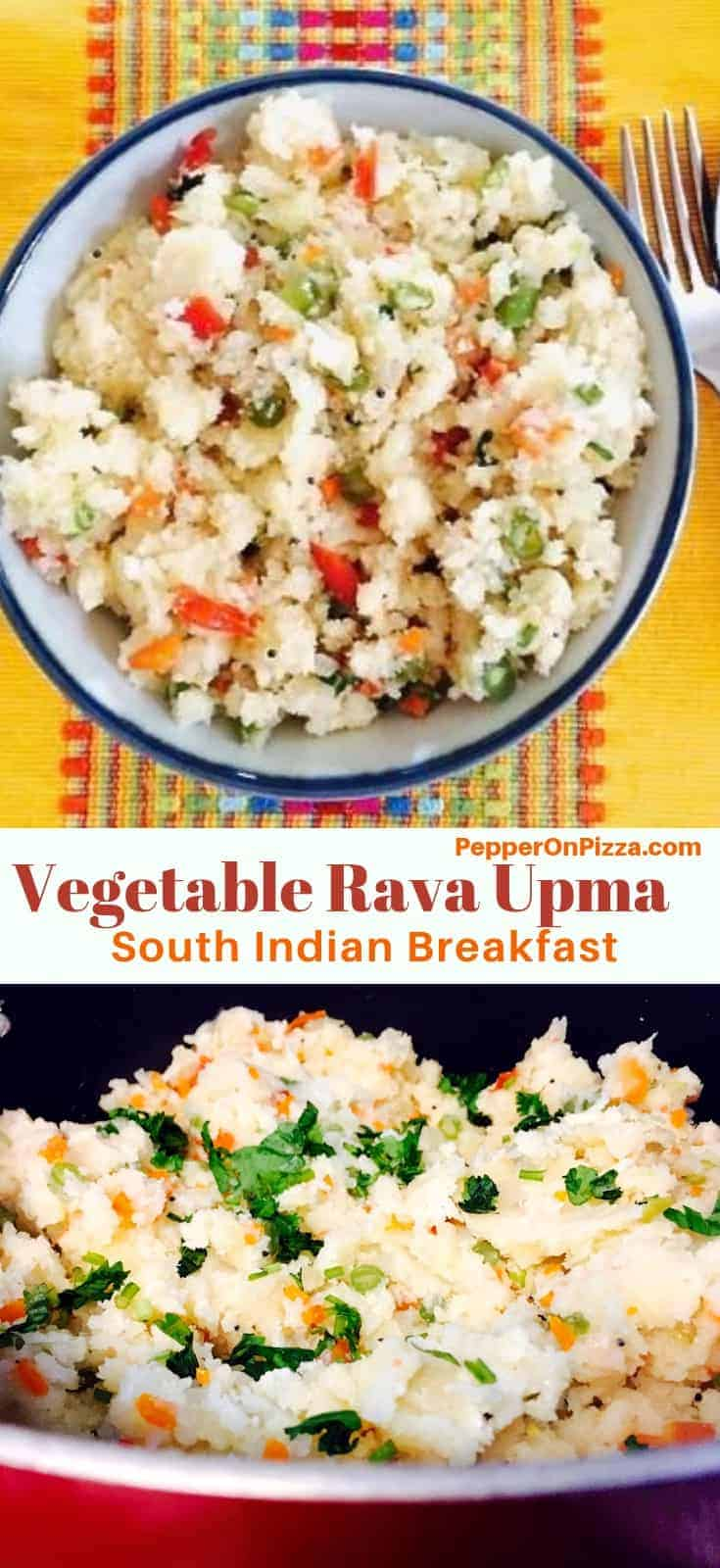 Vegetable Rava Upma. An easy, tasty South Indian breakfast. Semolina flour/sooji is roasted and cooked with a variety of vegetables and a tempering of mustard seeds, chillies and curry leaves. Omit ghee for a vegan version