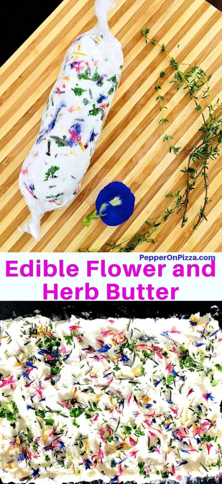 Fresh, colourful Edible flower and herb butter. Very easy to make and perfect for a festive dinner party. Use as a dip or spread, or make a butter roulade with pretty flowers and bright green herbs