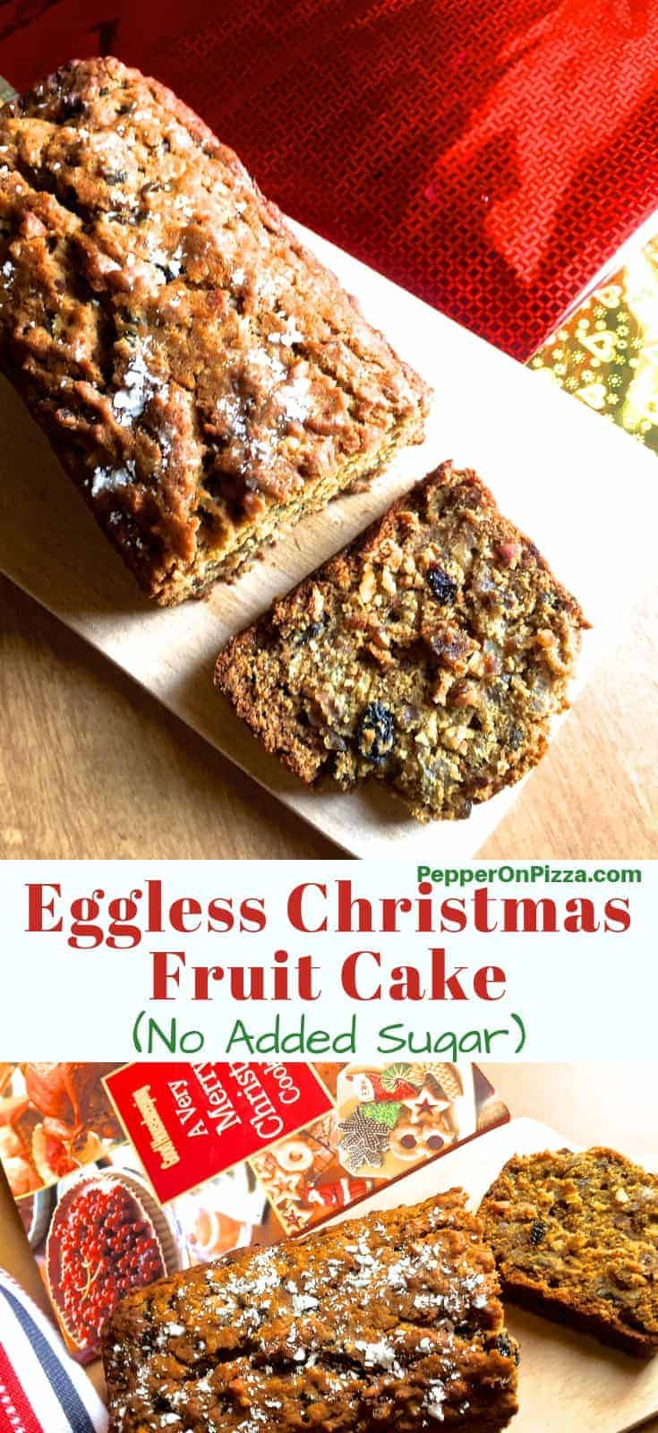 Eggless Christmas cake with the cake and a slice of it on a wooden board and with another image below of the cake on a purple background