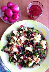 Easy Avocado Fenugreek Leaves Salad with a Pomegranate honey dressing alongside with a bowl of pink radish