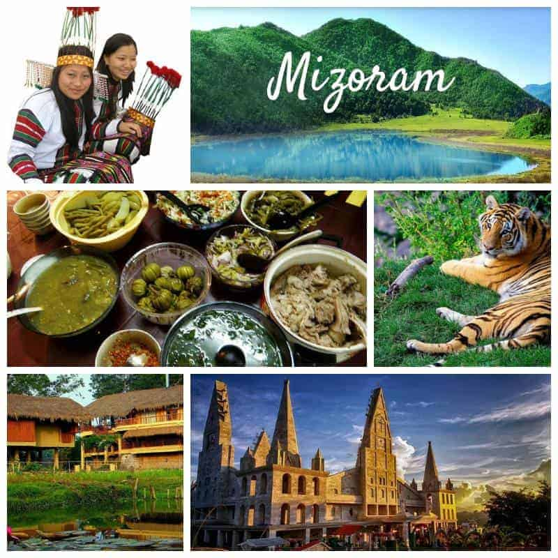 A collage showing the culture and places in Mizoram