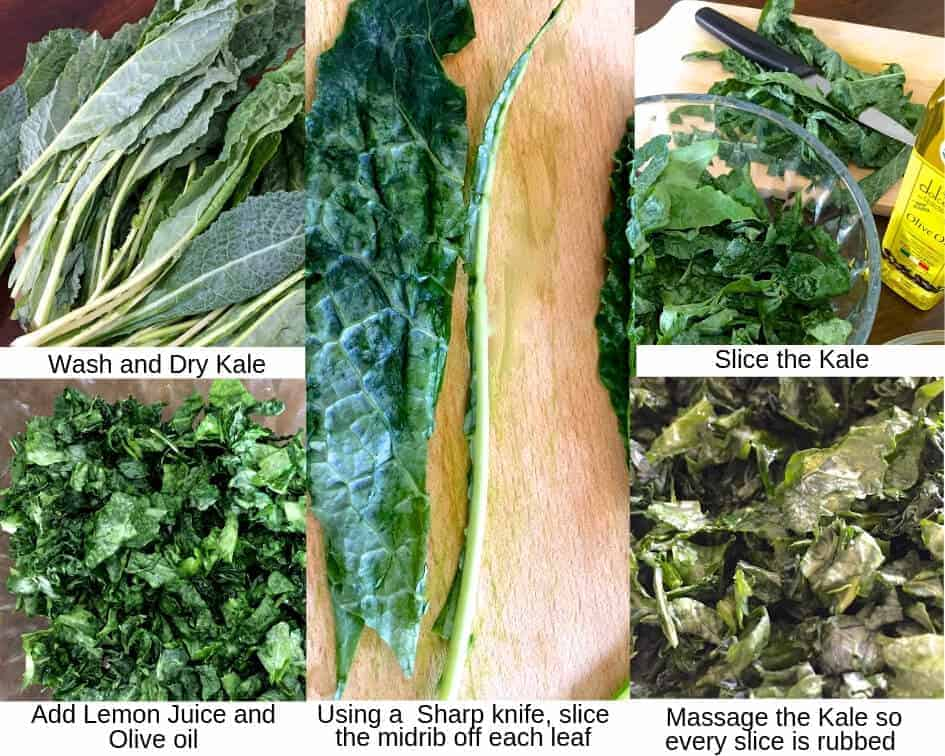 Steps for making marinated Kale and Mango Salad, showing kale leaves separated from each other, mid ribs sliced away, Kale sliced into pieces, massaged with olive oil and lemon juice