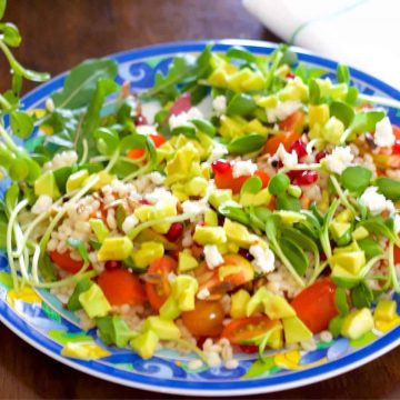 Bright coloured barley salad with tomato, avocado, microgreens, on a plate with blue and yellow scrolled design. A white napkin with green stripes at top right corner