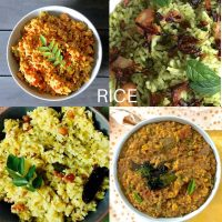 Collection of 4 rice based dishes. Orangey tomato rice, Green mint rice on top; yellow mango rice and brown bisi bele rice at the bottom row