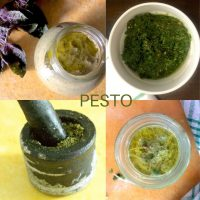 Collage of four images showing different pesto varieites, each in a different shade of green. On yellow or green backgrounds.